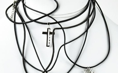 Group of Sterling Silver & Leather Cord Necklaces
