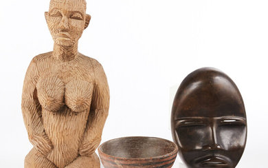Grp: African Carved Wooden Objects - Mask Bowl Sculpture