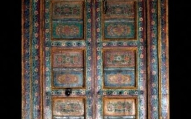 """Haveli Polychrome Wood Doors With Frame, 90.5""""H"""