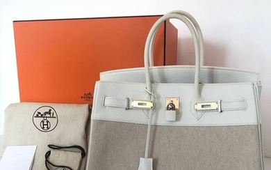 Hermès - Birkin 35 Bi-Matiere White Leather Beige Canvas Handbag