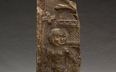 ITALIAN, LOMBARDY, SECOND HALF 15TH CENTURY   RELIEF FRAGMENT WITH A BOY HOLDING A WHIRLIGIG