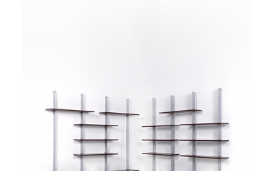 Ignazio Gardella (1905-1999) Modular bookcase with eight vertical beams Chromed metal, painted metal and wood Misura Emma Edit...