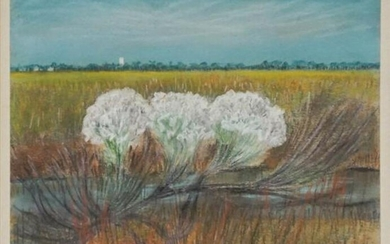 J. Eugene Gardner (American 1904-1999), Wild Water Bush Blooms, MD, Pastel, 22 x 24 in