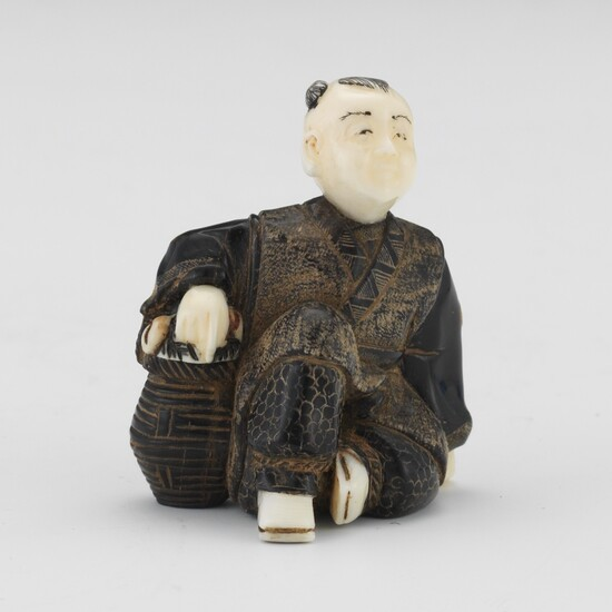 Japanese Warthog and Horn, Mother-of-Pearl Signed Netsuke of Man with Basket of Peaches by Lan Xian