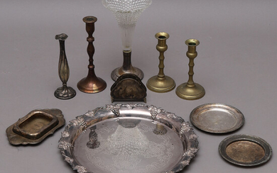 LOT OF METAL OBJECTS, 10 parts, i. a. candlesticks.