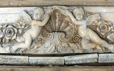 """Large 59"""" Carved Marble Cherub Relief Plaque"""