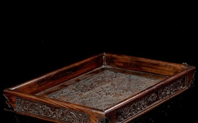 Large Chinese Carved Wooden Tray