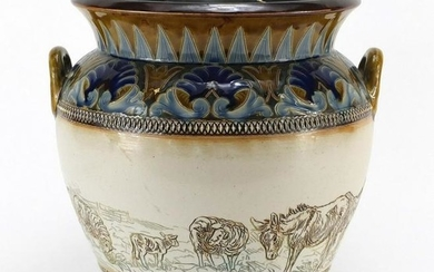 Large Doulton Lambeth stoneware jardinière with twin