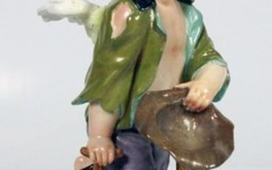 "Large Orginal 9"" Meissen Figure Of A Boy"