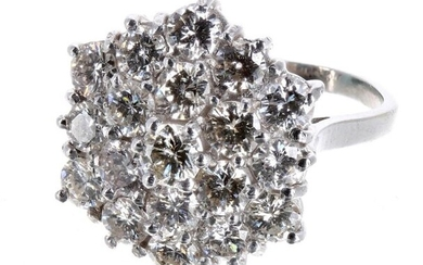 Large fancy 18ct white gold diamond cluster ring, round brilliant-cuts,...