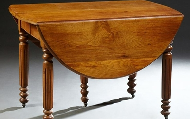 Louis Philippe Carved Cherry Demilune Dining Table