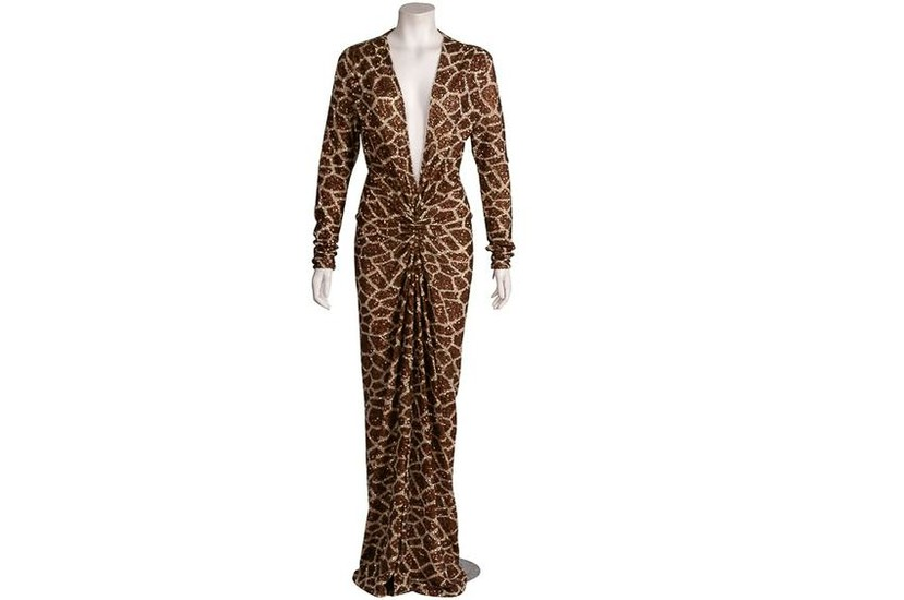 MARC BOWER GIRAFFE PRINT SEQUIN GOWN