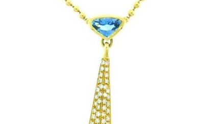 Marina B Vintage 18k Yellow Gold Diamond and Blue Topaz