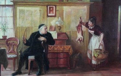 Mid 20th century Italian School, oil on board, An interior scene with a priest and a maid, indistinctly signed, in gilt frame, 29 x 40cm