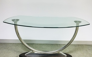 Modern Glass-top Chromed Metal Console Table, ht. 30, wd. 55, dp. 28 in.