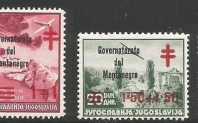Montenegro - Stamps of Yugoslavia with black overprint - Sassone 32/35