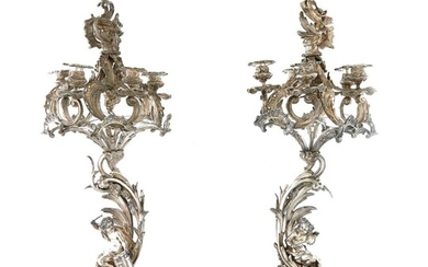 Monumental pair silverplate figural candelabra/centerpiece (6pcs)