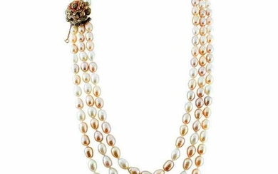 Multi-Strands Beaded Pearl Necklace with 9 Karat Rose