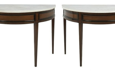 Near Pair of Neoclassical Marble-Top Side Tables