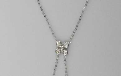 "Necklace "" Négligé "" in white gold, 750 MM, centered with a brilliant-cut diamond pattern, length 45 cm, spring ring, weight: 1.55gr. rough."