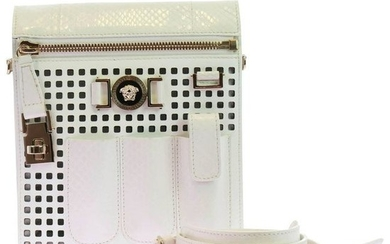 New VERSACE PERFORATED PATENT LEATHER WHITE CROSSBODY