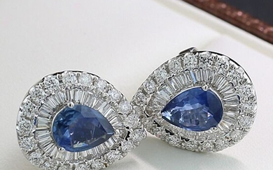 No Reserve Price - 18 kt. White gold - Earrings - 2.72 ct Stud earrings 2 sapphires ALGT expertise trapezoidal and brilliant cut diamonds