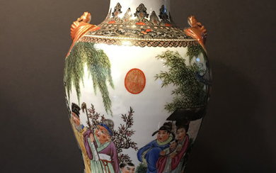 OLD Chinese Famille Rose Vase with two bats on shoulder, Qianlong Mark, Republic Period