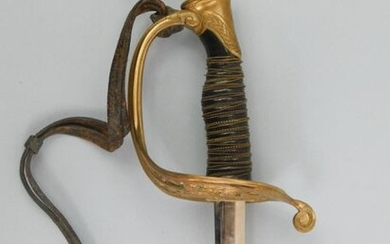 Officer's sabre with lenticular section with two offset grooves, type 1882, nickel-plated sheet steel sheath, cast bronze mount with floral decoration, type 1845 Warrant Officer's sword. Cap with short floral frieze tail, horn fuse with double filigree...