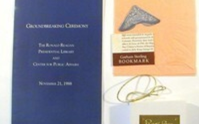 Official Program and Sterling Bookmark from the Groundbreaking Ceremony of the Ronald Reagan Presidential Library