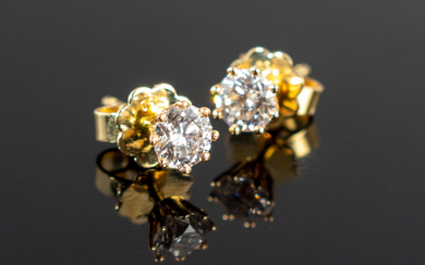 Ear studs, 750 gold with diamonds