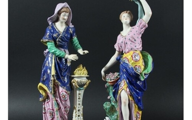 PAIR OF DERBY STYLE FIGURES, 19th century, emblematic of Sum...