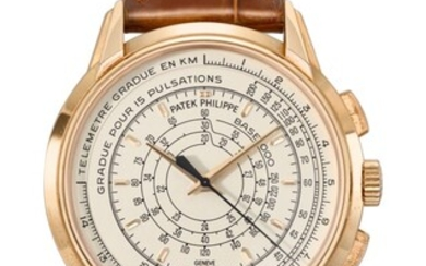 PATEK PHILIPPE, PINK GOLD LIMITED EDITION MULTI-SCALE CHRONOGRAPH WRISTWATCH, MADE TO COMMEMORATE THE 175TH ANNIVERSARY OF PATEK PHILIPPE IN 2014, REF. 5975R, MOVEMENT NO. 5'886'085, CASE NO. 6'056'955