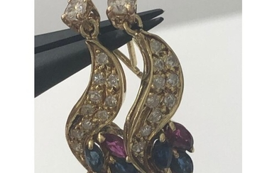 Pair of 18k yellow gold earrings with 0.85ct diamonds and ru...