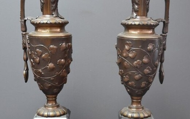 Pair of 19th century Renaissance style bronze candles,...