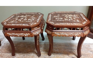 Pair of 20th Century Chinese Rosewood jardinière stands d:48...