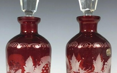 Pair of Bohemian Ruby Scent Bottles