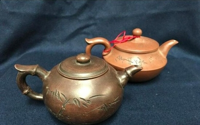 Pair of Chinese Yixing Clay Teapots