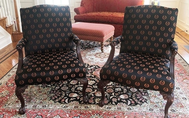 Pair of Chippendale Open Arm Chairs, RA8A