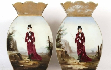 Pair of Continental Scalloped Hand Painted Vases