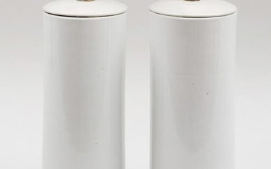 Pair of Cylindrical White Glazed Porcelain Vases