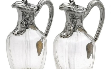 Pair of French Silver and Glass Claret Jugs