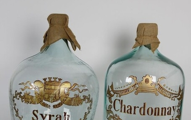 Pair of French Style Syrah and Chardonnay Wine Jugs