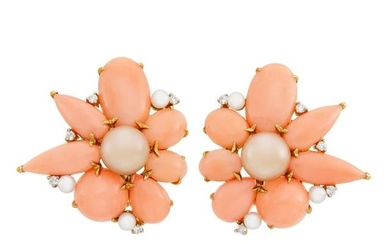 Pair of Gold, Coral, Cultured Pearl and Diamond Flower Earclips