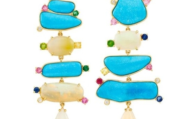 Pair of Gold, Turquoise, Opal and Colored Stone Pendant-Earclips