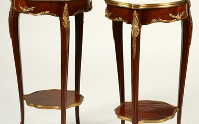 Pair of Louis XV Style Dore Bronze Mounted Side Tables.