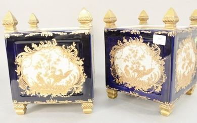 Pair of porcelain square planters with bronze finial