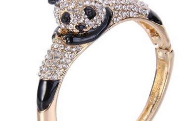 Panda Bear Crystal Cuff Bangle Bracelet