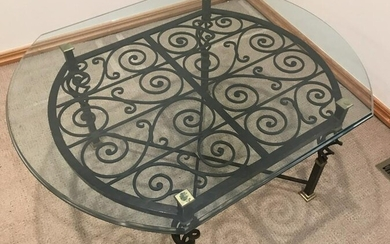 Quality Wrought & Gilt Metal Coffee Table w Glass