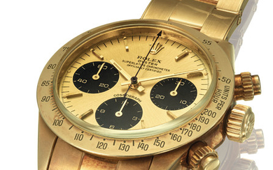 ROLEX. A FINE AND ATTRACTIVE 18K GOLD CHRONOGRAPH WRISTWATCH WITH BRACELET AND SIGMA DIAL, SIGNED ROLEX, COSMOGRAPH, DAYTONA MODEL, REF. 6265, CASE NO. 5'035'062, CIRCA 1978