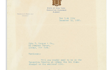 ROOSEVELT, FRANKLIN D. Brief Typed Letter Signed, as Governor, to Albany book dealer John E. Scopes